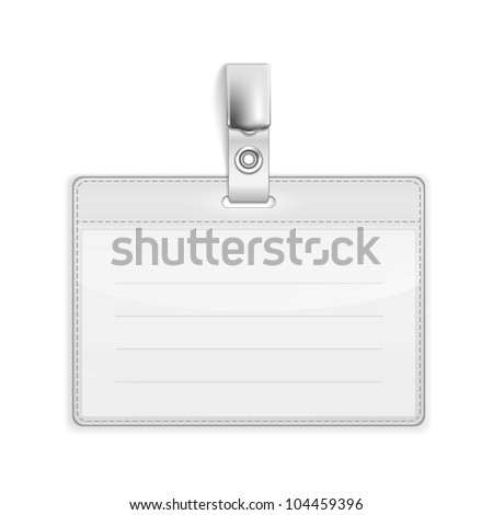Vector Realistic Card Name or Id Holder isolated on white