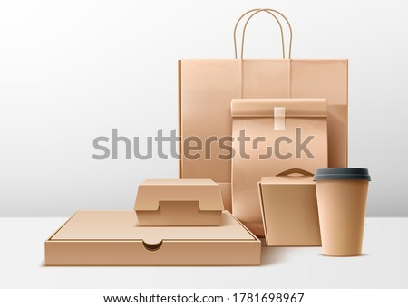 Vector realistic cardboard packaging set. Pizza, burger and fast food delivery boxes and packs, blank shopping bags. Disposable coffe cup, takeaway package mockups. Photo stock ©
