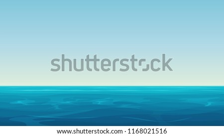 Vector Realistic cartoon vector empty blue ocean sea and sky landscape.