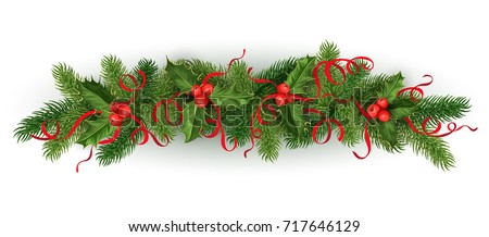 vector realistic christmas, new year holiday decoration element - spruce tree with mistletoe, ilex holly leaves, berries with silk ribbons bowtie. Isolated illustration on white background. #717646129