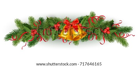 vector realistic christmas, new year holiday decoration element - spruce tree with mistletoe, ilex holly leaves, berries with silk ribbons bowtie jingle bell Isolated illustration on white background.