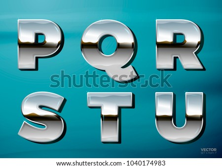 vector realistic chrome letters