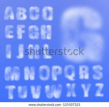 Vector realistic cloudy alphabet, easy to put on any background, sky. Gradient mesh used.