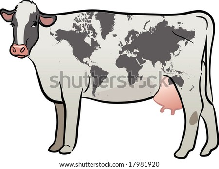 vector realistic cow with earth continents map