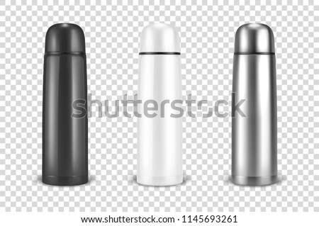 Vector realistic 3d black, white and silver empty glossy metal vacuum thermo tumbler flask icon set closeup on transparency grid background. Design template of packaging mockup for graphics. Front