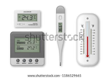 Vector realistic 3d celsius and fahrenheit meteorology, weather, electronic medical and aquarium thermometer icon set closeup isolated on white background. Clip art, design template for graphics. Top