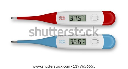 Vector realistic 3d celsius electronic medical thermometer for measuring set closeupisolated. Fever 37.5 and normal 36.6. Design template of digital thermometer showing temperature. Top view