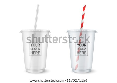 Vector realistic 3d empty clear plastic disposable cup with a straw set closeup isolated on white background. Design template of packaging mockup for graphics - milkshake, tea, fresh juice, lemonade