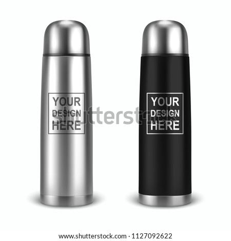 Vector realistic 3d empty glossy metal vacuum thermo tumbler flask icon set closeup on white background. Design template of packaging mockup for graphics. Front view