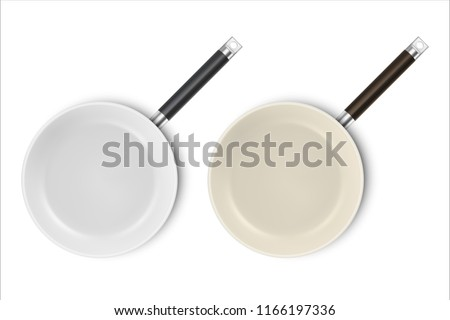 Vector realistic 3d empty non-stick, enamel cover surface frying pan icon set in top view closeup isolated on white background. Design template for graphics