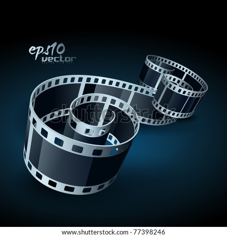 vector realistic 3d film reel - stock vector