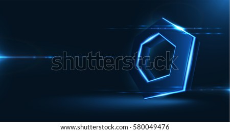 Vector realistic 3d hexagon with neon parts on dark background . Futuristic illustration .