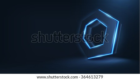 Vector realistic 3d hexagon with neon parts on dark background . Futuristic illustration . Sci fi object , Realistic hexagon , Futuristic glowing  HUD hexagonal element .Nano techology