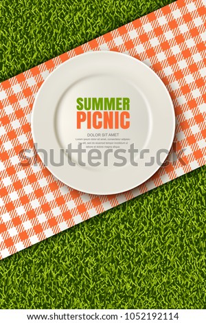 Vector realistic 3d illustration of white empty plate, gingham red plaid on green grass lawn. Spring, summer picnic in park. Banner, poster design template. Background with copy space.