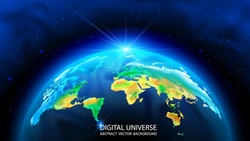 Vector. Realistic 3D image of the planet Earth. World map. Global social network. Internet and technology. Ecological problems. Cosmic nebulae and stars, infinity. Future. Dark blue background.