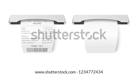 Vector Realistic 3d Paper Printed ATM Transaction Record Receipt Set Closeup Isolated on White Background. Design Template of Bill ATM, Receipt Records, Paper Financial Check for Mockup. Top View