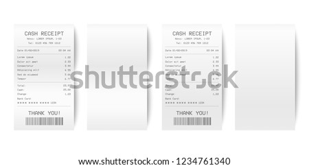 Vector Realistic 3d Paper Printed Sales Shop Receipt Set with Barcode Closeup Isolated on White Background. Design Template of Bill ATM, Receipt Records, Paper Financial Check for Mockup. Top View