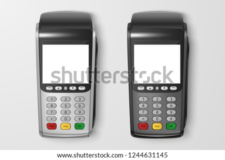 Vector Realistic 3d Payment Machine set. POS Terminal Closeup Isolated on Transparency Grid Background. Design Template of Bank Payment Terminal, Mockup. Processing NFC payments device. Top View