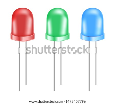 Vector realistic 3d rgb light emitting diodes. Eco red, green and blue small LED light bulbs isolated on a white background. Semiconductor diode – electrical component.
