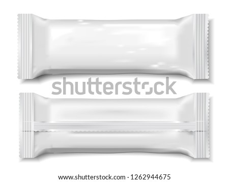 Vector realistic 3d sweets. Mock-up for product package branding.