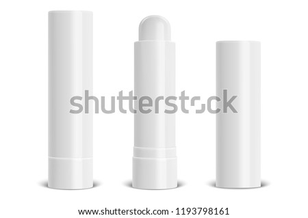 Vector realistic 3d white blank glossy closed and opened lip balm stick or hygienic lipstick set closeup isolated on white background. Design template for graphics, vector mockup. Cosmetic packaging