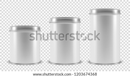 Vector Realistic 3d White Blank Metal Tin Can Container Set Closeup Isolated on Transparent Background. Design Template For Packaging Baby Powder Milk, Tea, Coffee, Cereal etc., Mockup. Front View