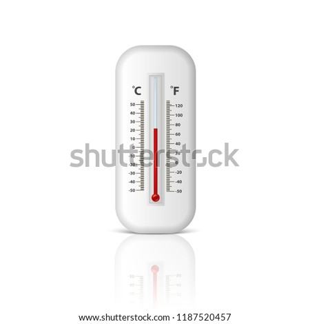 Vector realistic 3d white celsius and fahrenheit meteorology, weather thermometer icon closeup isolated on white background with reflection. Clip art, design template for graphics