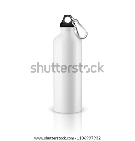 Vector realistic 3d white empty glossy metal water bottle with black bung closeup isolated on white background. Design template of packaging mockup for graphics. Front view