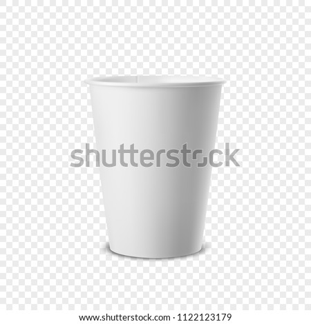 Vector realistic 3d white paper disposable cup icon isolated on transparency grid background. Design template for graphics, mockup. Front view