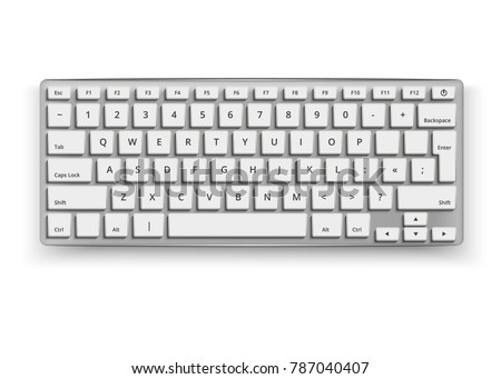 Vector realistic desktop keyboard mockup. 3d qwerty alphabet computer electronic device with white letter buttons on grey. Wireless modern plastic, aluminum tool on isolated white background #787040407