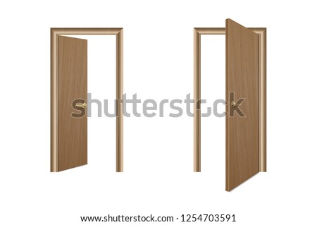 Vector Realistic Different Opened and Closed Brown Wooden Door Icon Set Closeup Isolated on White Background. Elements of Architecture. Design template of Classic Home Door for Graphics. Front View