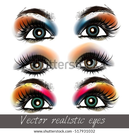 vector realistic eyes set