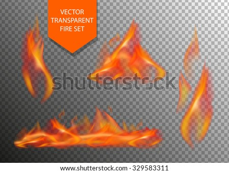 Vector realistic fire transparent special effect element. Hot flame spurts. Campfire. Burn fire. Heat overlay. Vector fire. Vector flame. Fire elements, decoration flame effect.