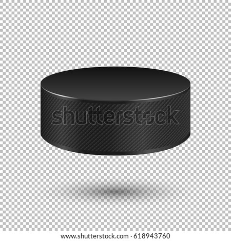 Vector realistic flying ice hockey puck closeup isolated on transparent background. Design template in EPS10.