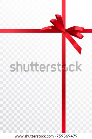 Vector realistic gift wrapping design with shiny red ribbons and bow isolated on transparent background