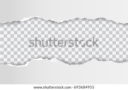 Vector realistic hole in paper sheet on transparent background