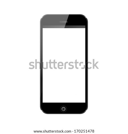 vector realistic illustration, black mobile phone with blank screen isolated on white