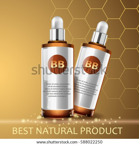 Vector realistic illustration. Body care, skin protect, natural product