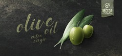 Vector realistic illustration. Green olives, leaves and paper icon on dark stone background.