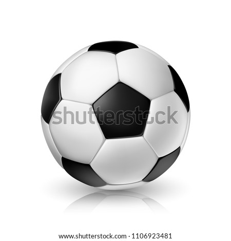 Vector realistic illustration of a football or soccer ball with shadow and reflex #1106923481
