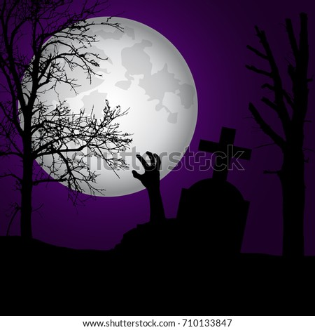 Vector realistic illustration of a haunted cemetery with tombstones and hand zombie, cross and trees without leaves under a dramatic sky with moon #710133847