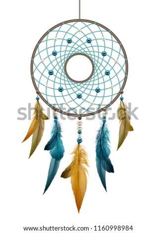 Vector realistic illustration of boho native american handmade dreamcatcher, template ethnic round talisman with feathers threads and beads rope hanging isolated on white background Foto stock ©