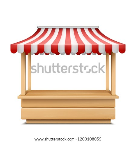 Vector realistic illustration of empty market stall with red and white striped awning isolated on background. Mockup of wooden counter with canopy for street trading, retail stand for grocery goods