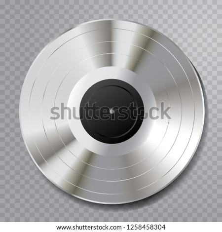 vector realistic illustration of the platinum LP with blank black label