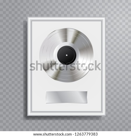 vector realistic illustration of the platinum LP with blank white label in white frame