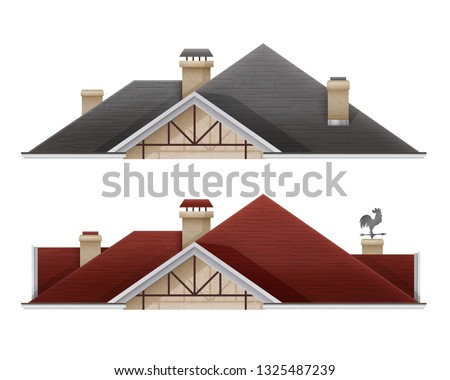 Vector realistic illustration of tiled roof house isolated on white background, part of the house, set of black and red tile roof with wooden structures or supports, chimney and decorative elements