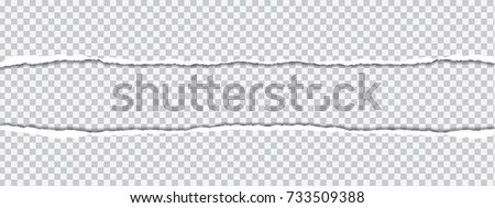 vector realistic illustration of torn paper with shadow on transparent background with frame for text