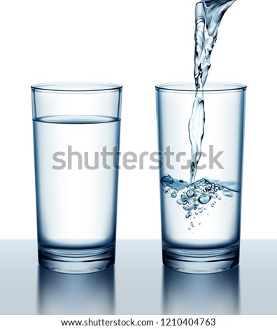 Vector realistic illustration of two glasses of full and pouring fresh water isolated on white background