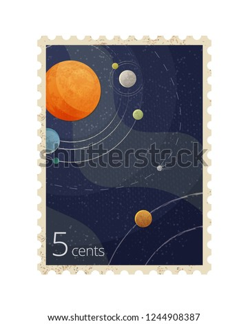 Vector realistic illustration of vintage space postage stamp with planets isolated on white background