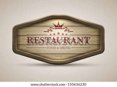Vector realistic illustration of wooden signboard. Elements are layered separately in vector file.